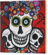 3 Skulls Wood Print