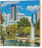 Skyline Of A Modern City - Charlotte North Carolina Usa Wood Print