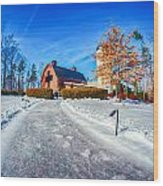 Snow Around Billy Graham Library After Winter Storm Wood Print