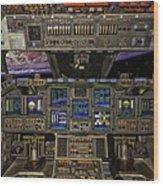 Space Shuttle Cockpit Wood Print