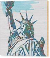 Statue Liberty - Pop Stylised Art Poster Wood Print