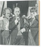 3 Stooges And A Monkey Wood Print