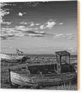 Stunning Black And White Image Of Abandoned Boat On Shingle Beac Wood Print