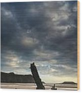 Stunning Shipwreck On Rhosilli Bay Beach Landscape At Sunset Wood Print