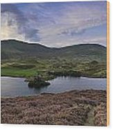Stunning Sunrise Panorama Landscape Of Heather With Mountain Lak Wood Print