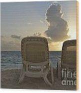 Sun Lounger On Tropical Beach Wood Print