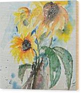 Sunflowers Wood Print by Ismeta Gruenwald