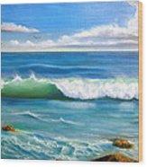 Sunny Seascape Wood Print by Heather Matthews