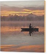 Sunrise In Fog Lake Cassidy With Fisherman In Small Fishing Boat Wood Print
