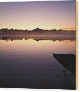 Sunrise In Fog Lake Cassidy With Fishermen In Small Fishing Boat Wood Print