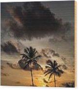 Sunset And Palm Tree Wood Print