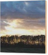Sunset Over Trees In An English Field Wood Print