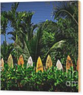 Surf Board Fence Maui Hawaii Wood Print by Edward Fielding