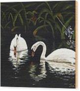 Swans II Wood Print