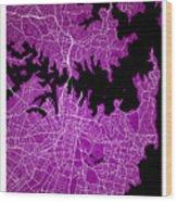 Sydney Street Map - Sydney Australia Road Map Art On Colored Bac Wood Print