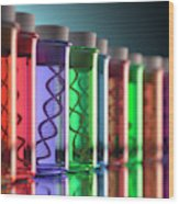 Test Tubes With Dna Wood Print