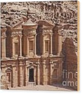 The Monastery At Petra In Jordan Wood Print