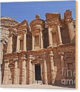 The Monastery Sculpted Out Of The Rock At Petra In Jordan Wood Print by Robert Preston
