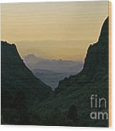 The Window At Sunset In Chisos Mountains Of Big Bend National Park Texas Wood Print