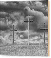 Three Crosses On Hill Wood Print