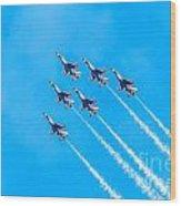 Thunderbirds And Blue Sky  Wood Print