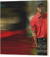Tiger Woods Wood Print by Marvin Blaine