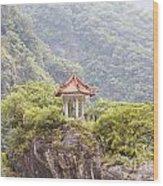Traditional Pavillion Atop Cliff Wood Print