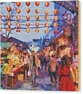 Traditional Shopping Area Wood Print