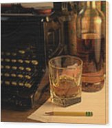Typewriter And Whiskey Wood Print