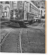 Typical Lisbon Tram In Commerce Square Wood Print