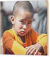 Uighur Child At Kashgar Market Xinjiang China Wood Print