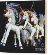 3 Unicorns Romping Wood Print