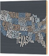 United States Text Map Wood Print