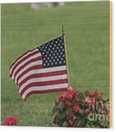 Us Flag On Memorial Day Wood Print by Robert D  Brozek