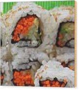 Vegetable Sushi Wood Print