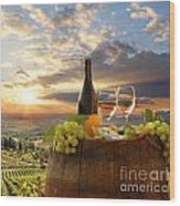 Vine Landscape In Chianti Italy Wood Print