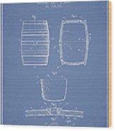 Vintage Beer Keg Patent Drawing From 1898 - Light Blue Wood Print