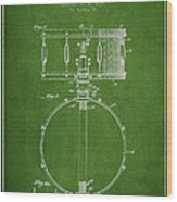 Snare Drum Patent Drawing From 1939 - Green Wood Print