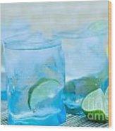 Water In Blue Wood Print