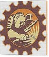 Welder Worker Welding Torch Retro Wood Print