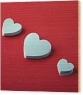 White Hearts Wood Print