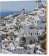 Windmills And White Houses In Oia Wood Print