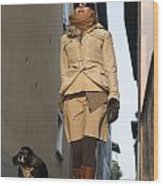 Woman Walking With Her Dog Wood Print