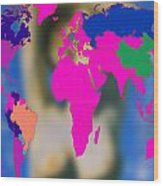 World Map And Aphrodite Wood Print