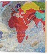 World Map And Barack Obama Stars Wood Print