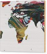 World Map And Human Life Wood Print