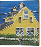 Yellow Barn Wood Print by Anne Klar