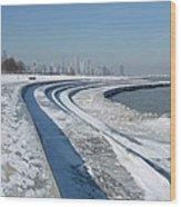 31st Beach Shoreline In Winter Wood Print