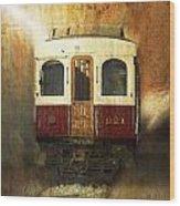 321 Antique Passenger Train Car Textured Wood Print