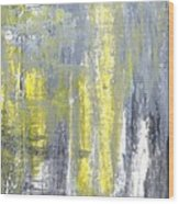 Placed - Grey And Yellow Abstract Art Painting Wood Print